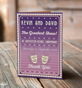 musical theatre theme wedding thank you cards