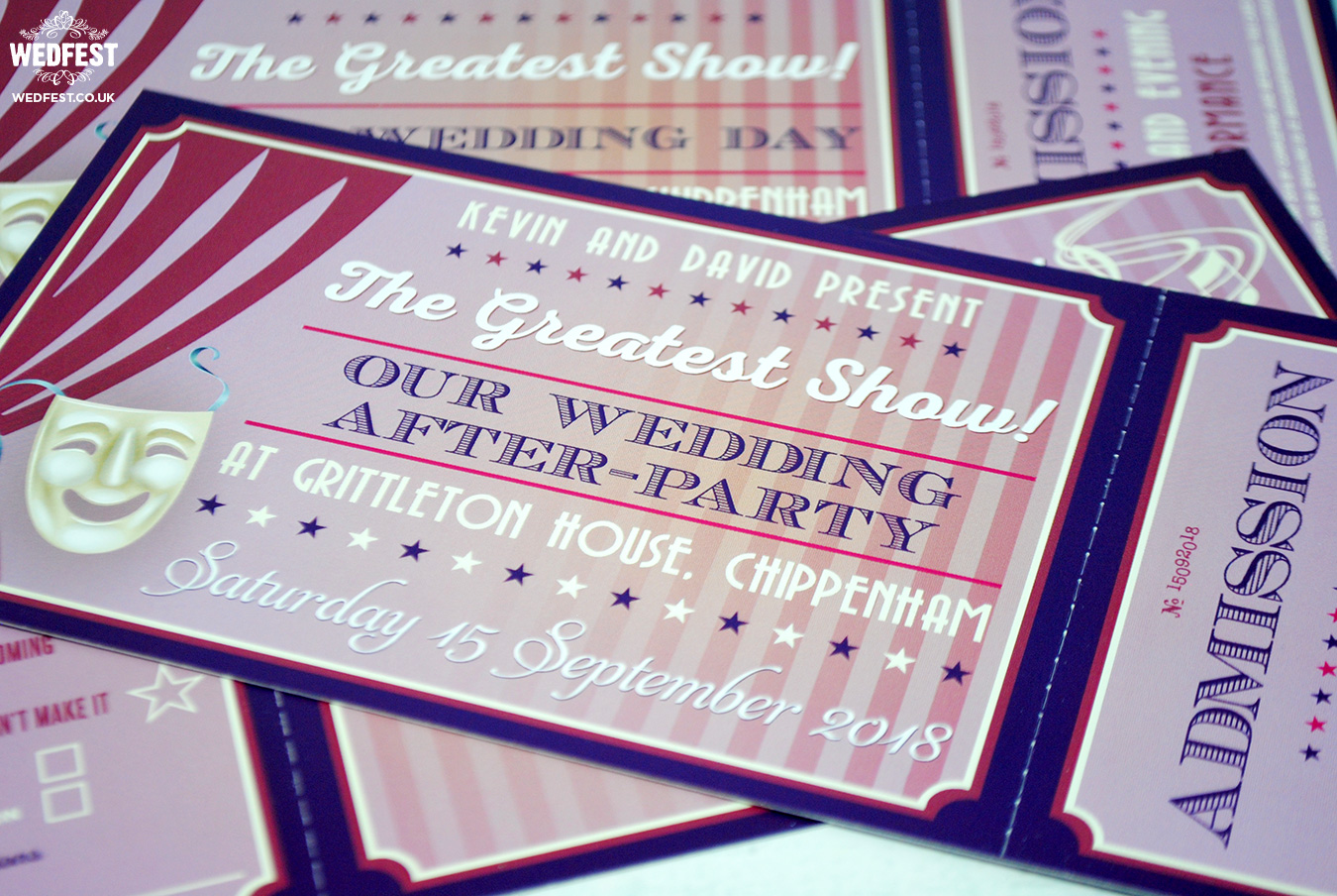 musical theatre ticket theme wedding invitation
