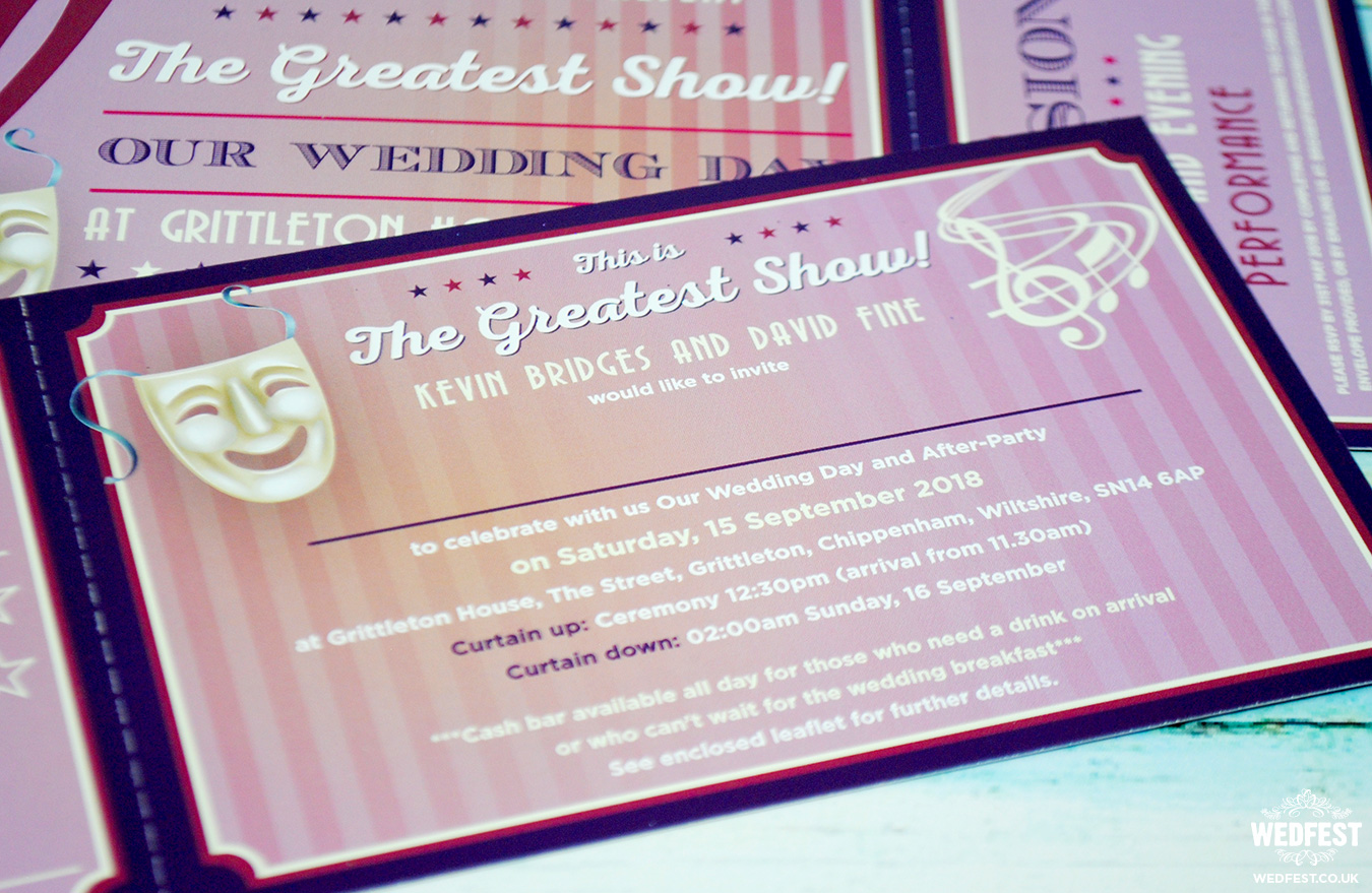 musical theatre ticket wedding invitation