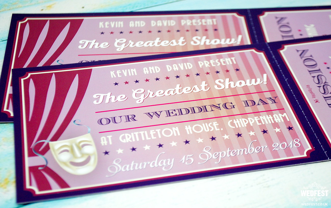 musical theatre tickets wedding invitations