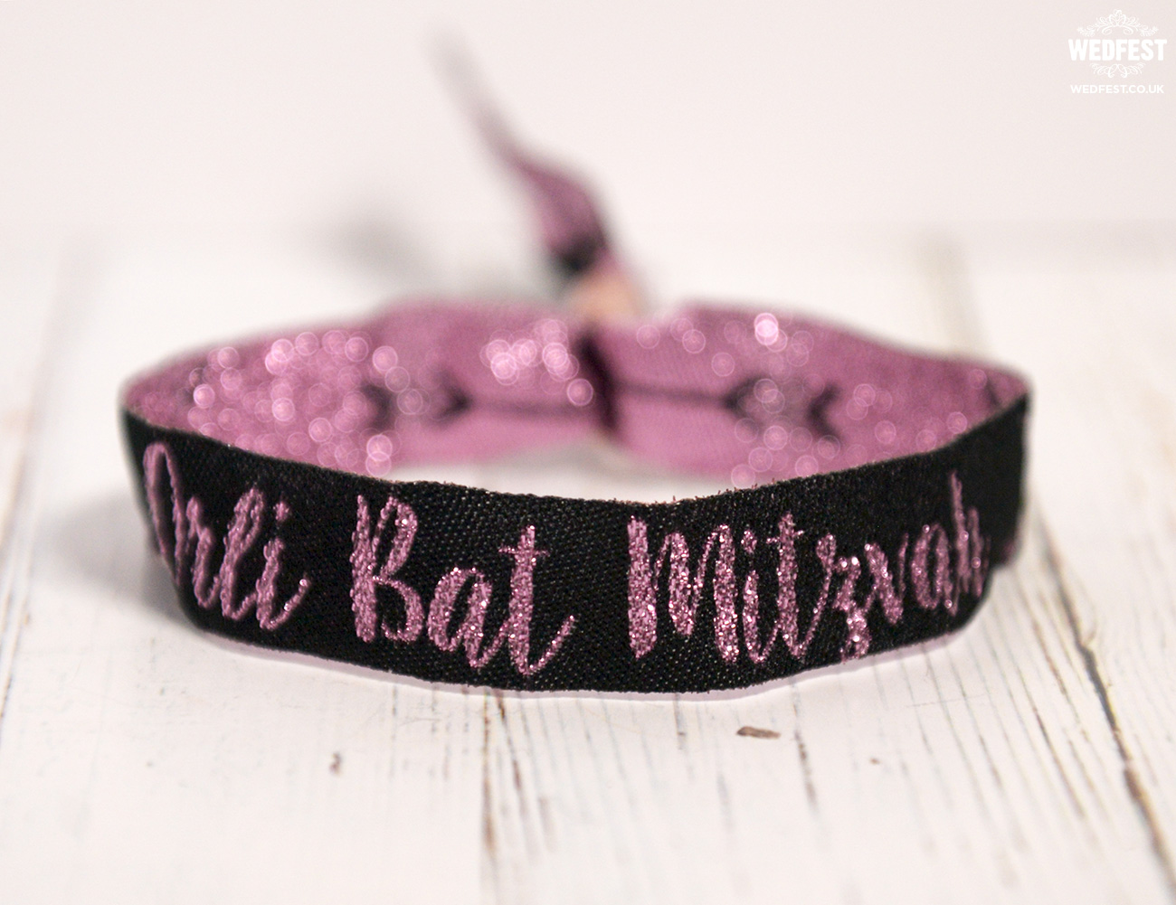 personalised bat mitzvah festival woven wristbands