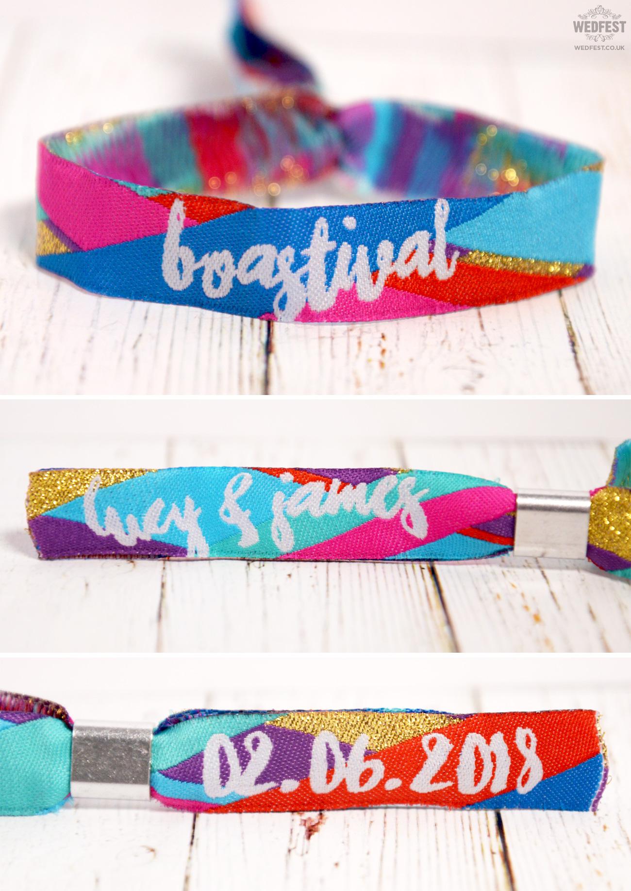 personalised woven fabric wedding wristbands