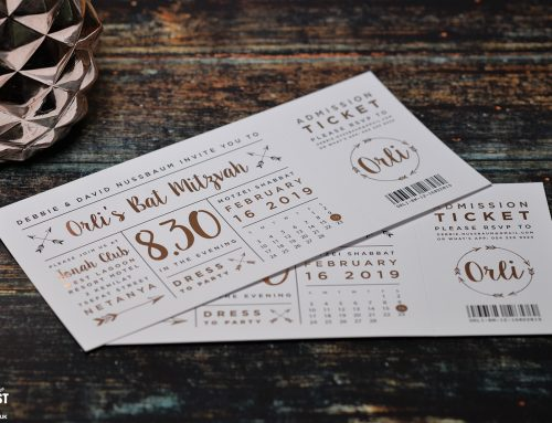 Bat Mitzvah Festival Ticket Rose Gold Foil Invitations