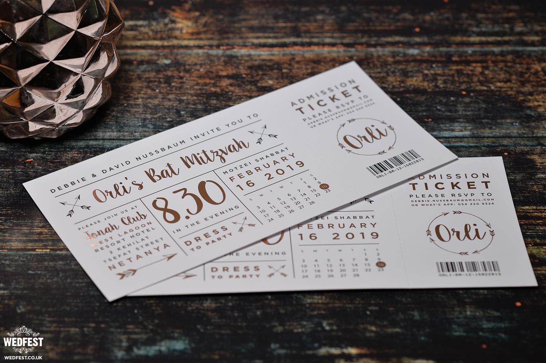 rose gold festival ticket bat mitzvah invitations