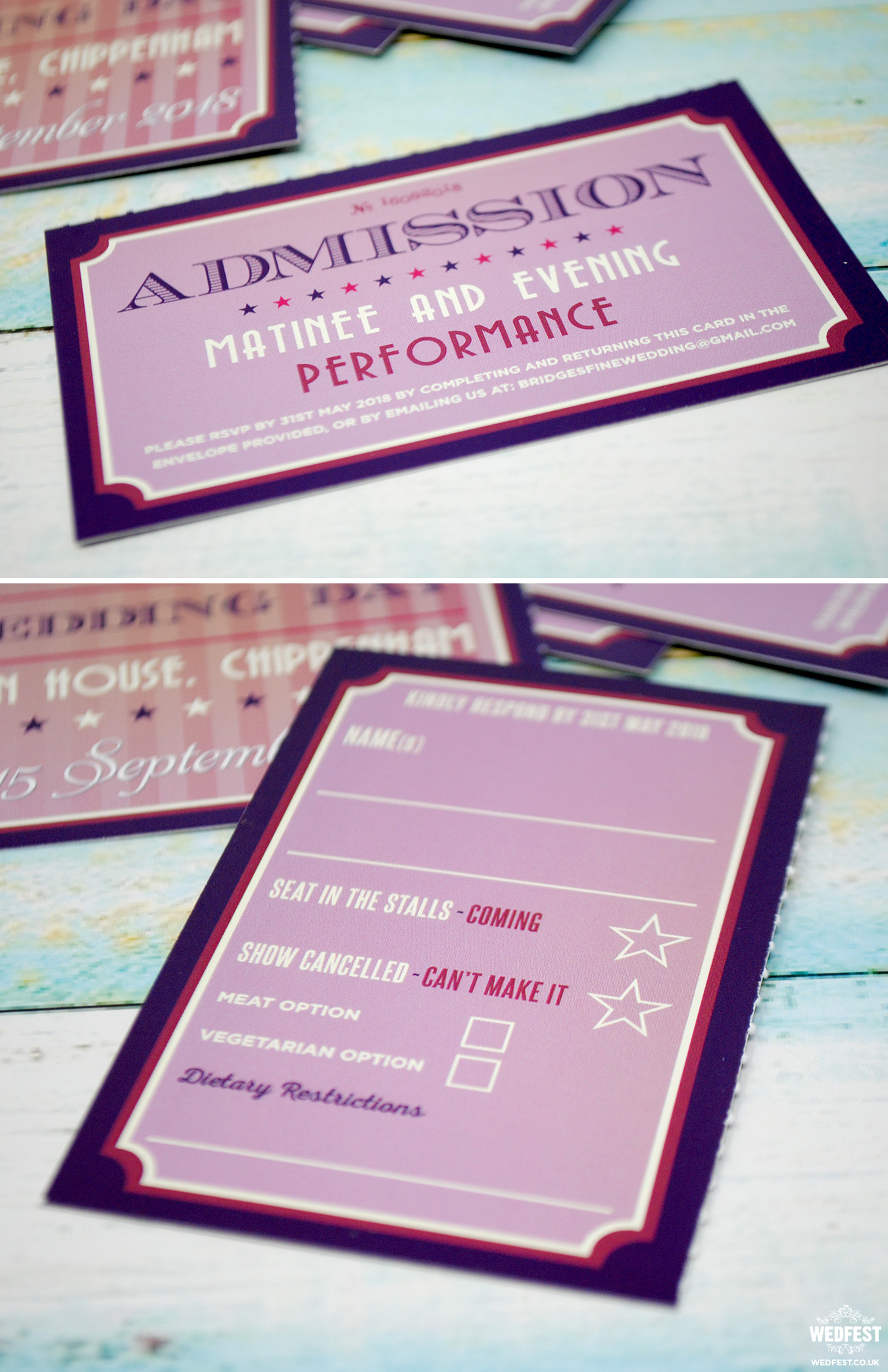 theatre ticket stub wedding invite rsvp card