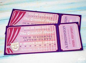 wedding tickets invitations theatre themed wedding