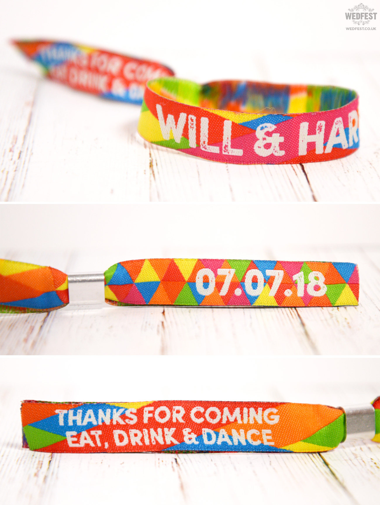 wedfest custom festival wedding wristband favours