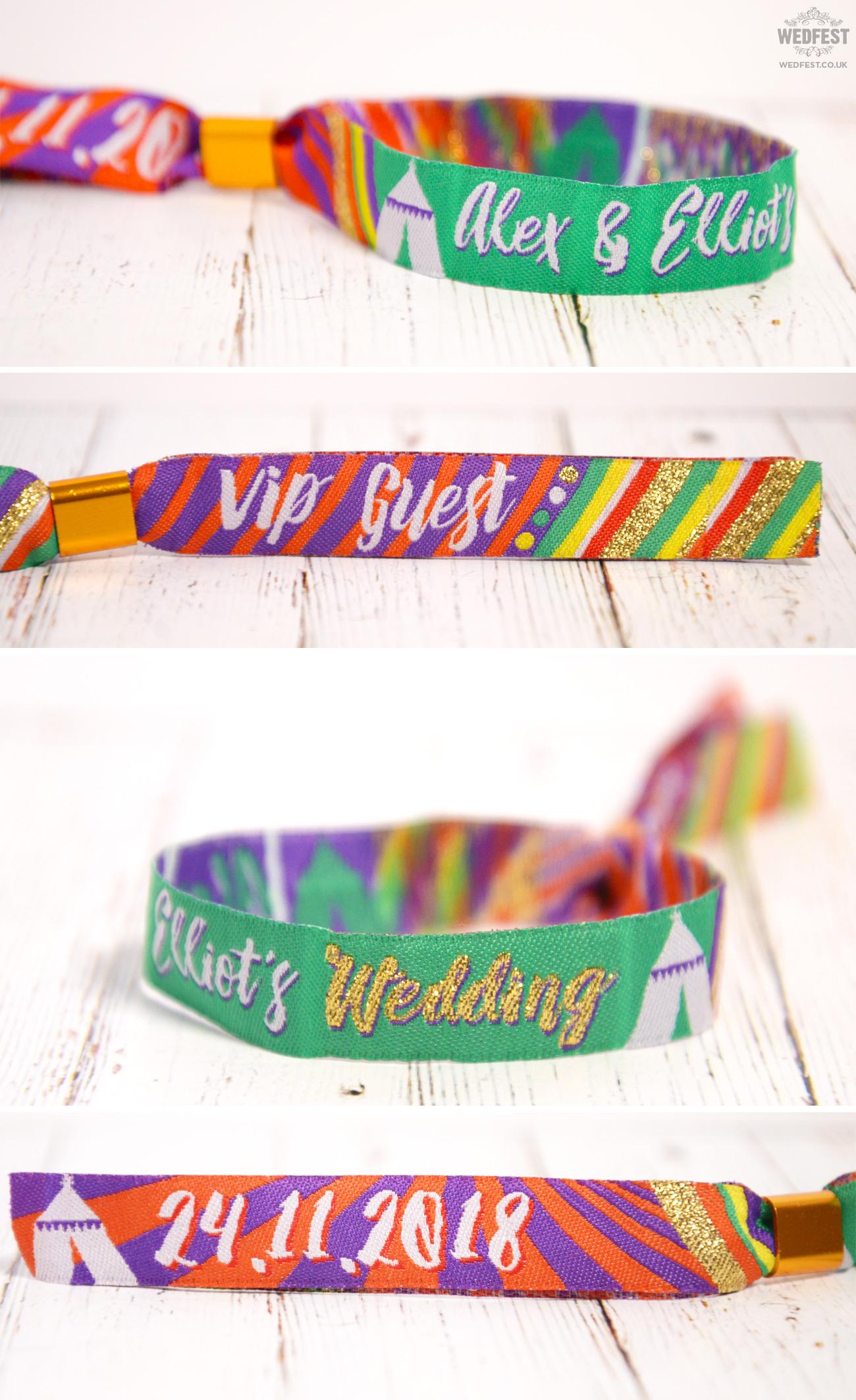 wedfest personalised festival wedding armbands wristbands