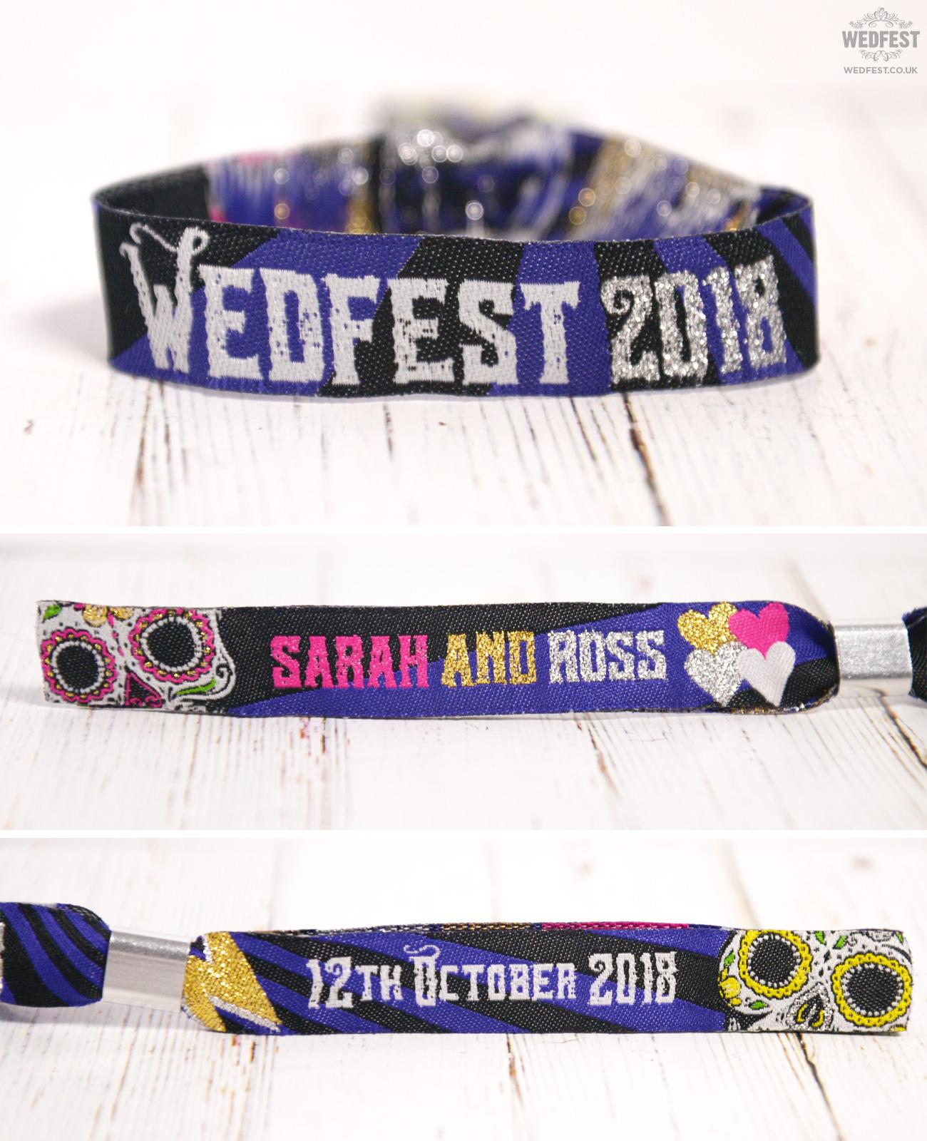 wedfest personalised rocker rock n roll wedding wristbands favours