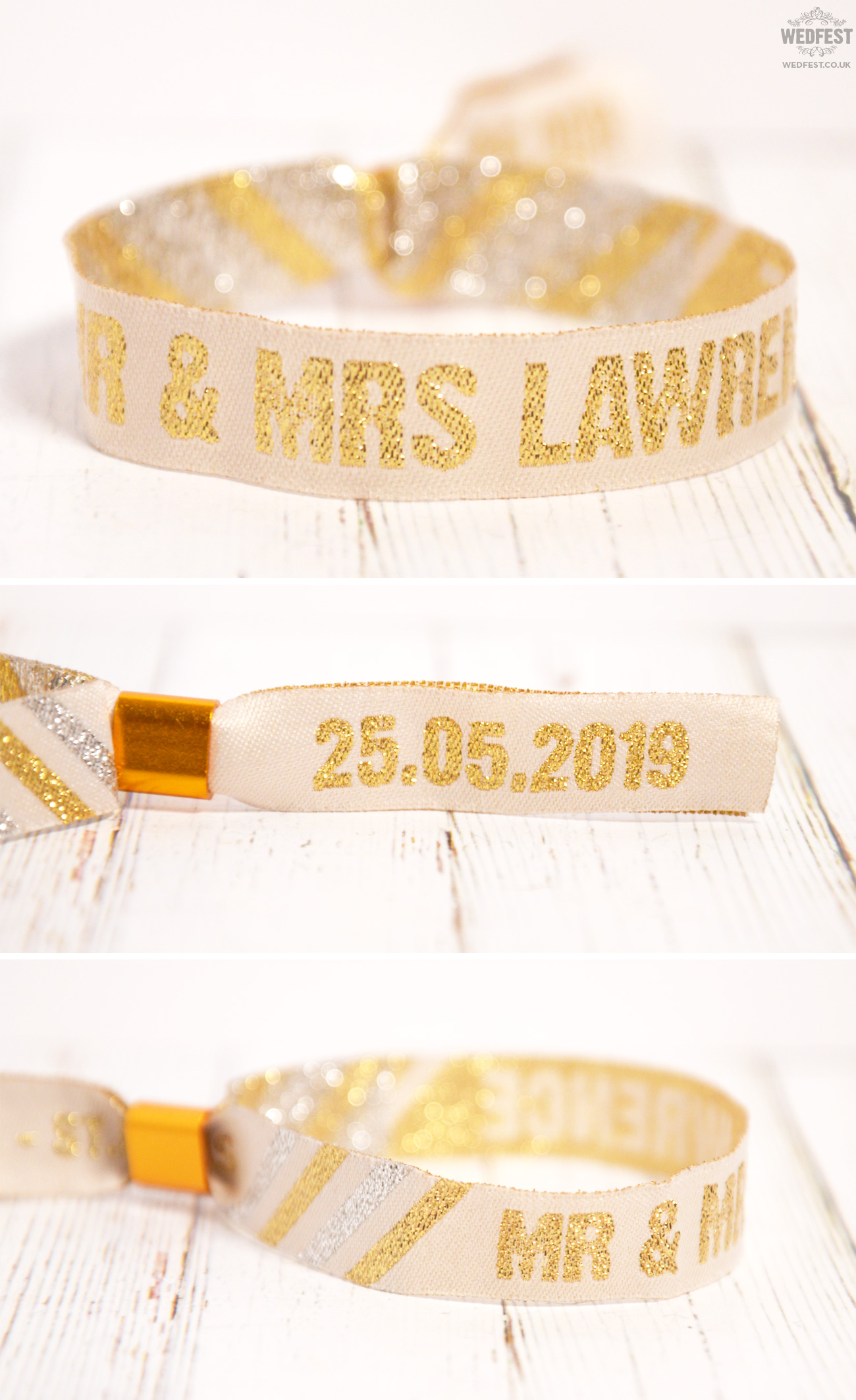 white gold wedding festival wristbands
