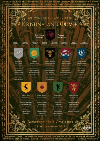 game of thrones wedding table seating plan