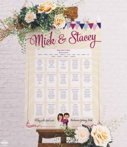 caricatures wedding table seating plan chart