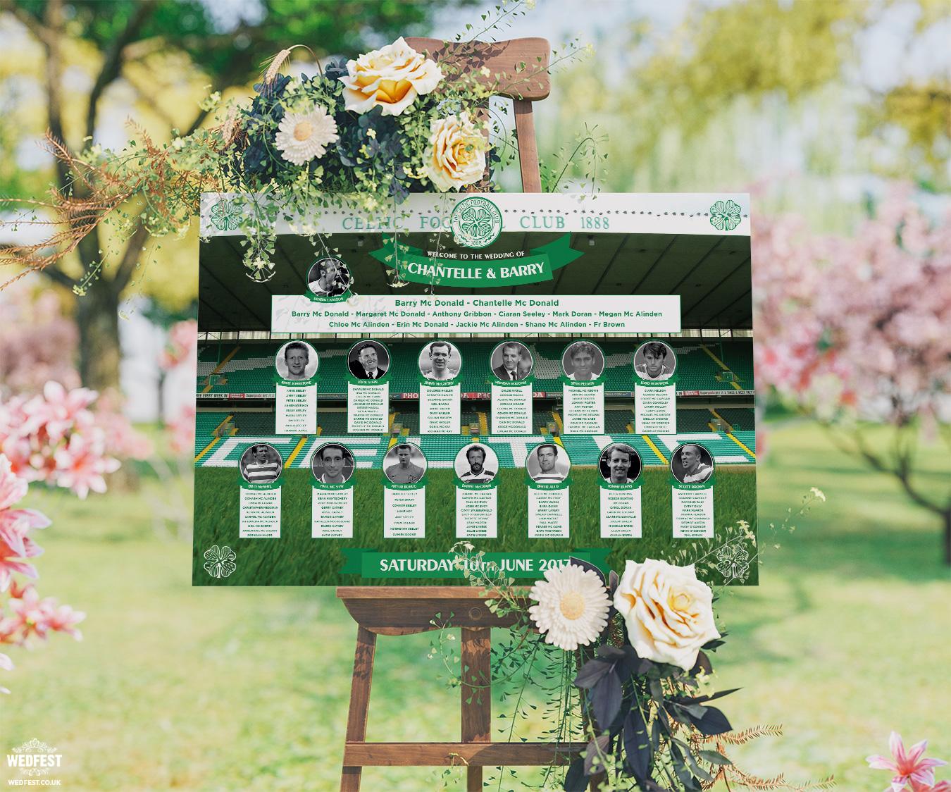 celtic football wedding table seating plan