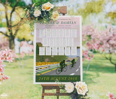 cycling theme wedding table seating plan