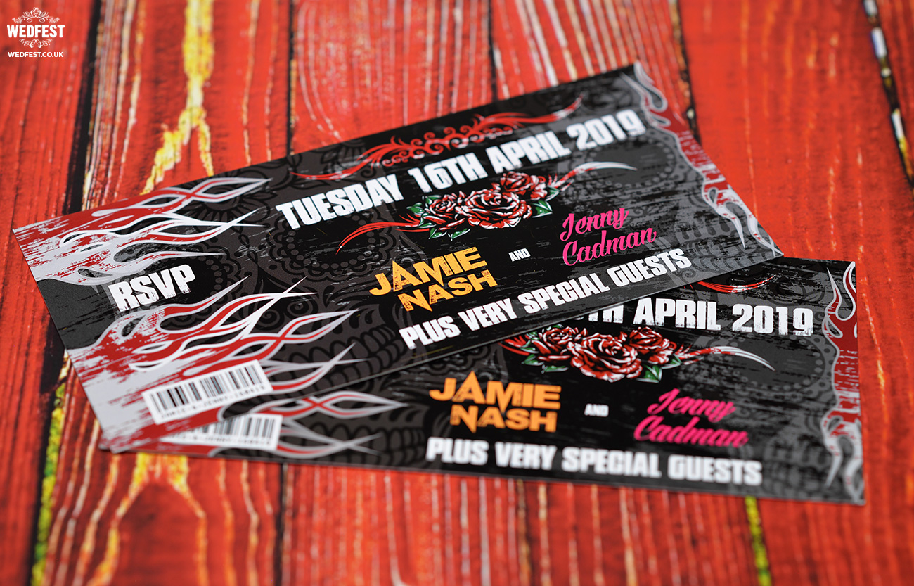 heavy metal rock themed wedding invites wedfest