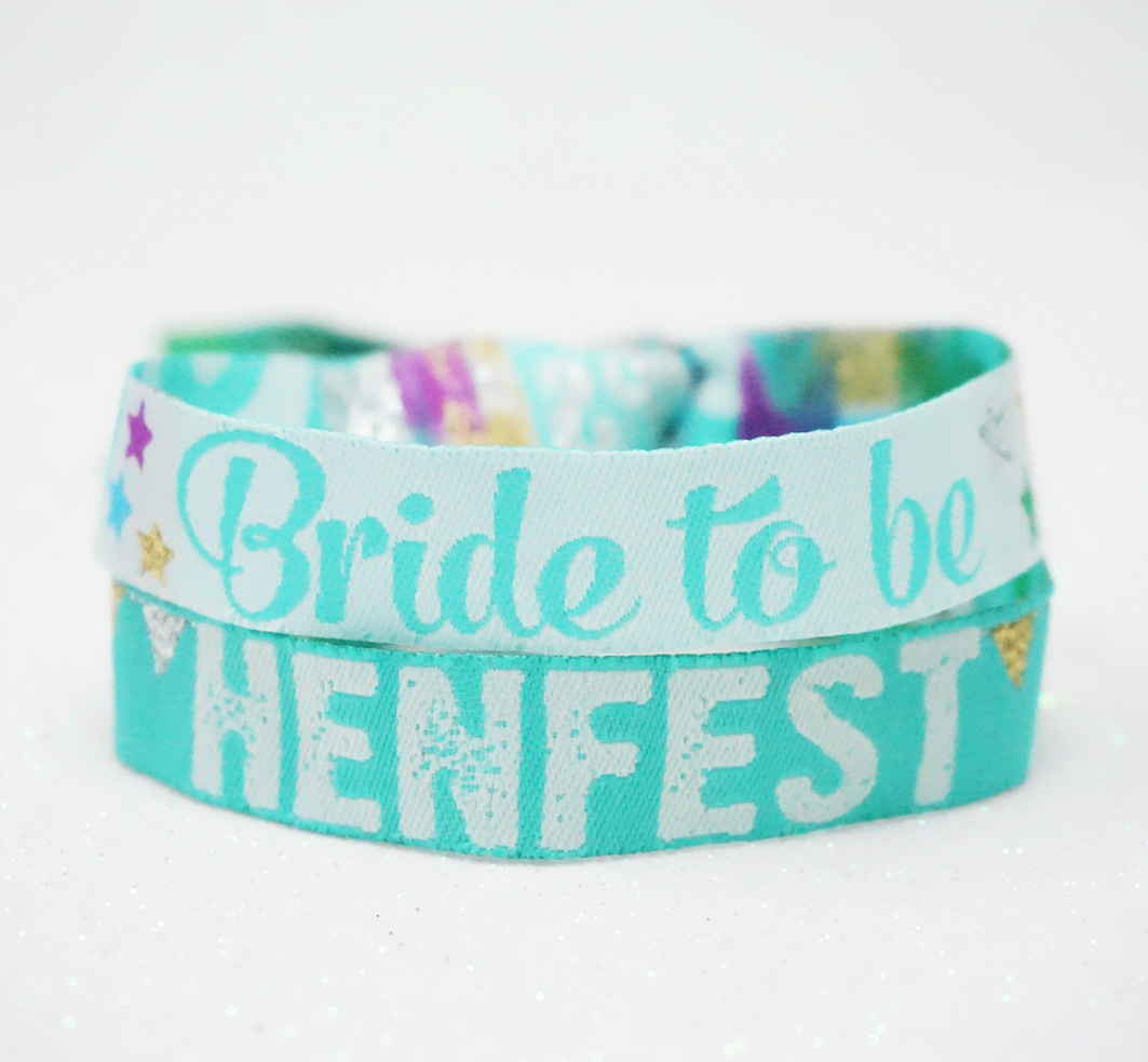 hen fest festival hen party wristband teal bride to be