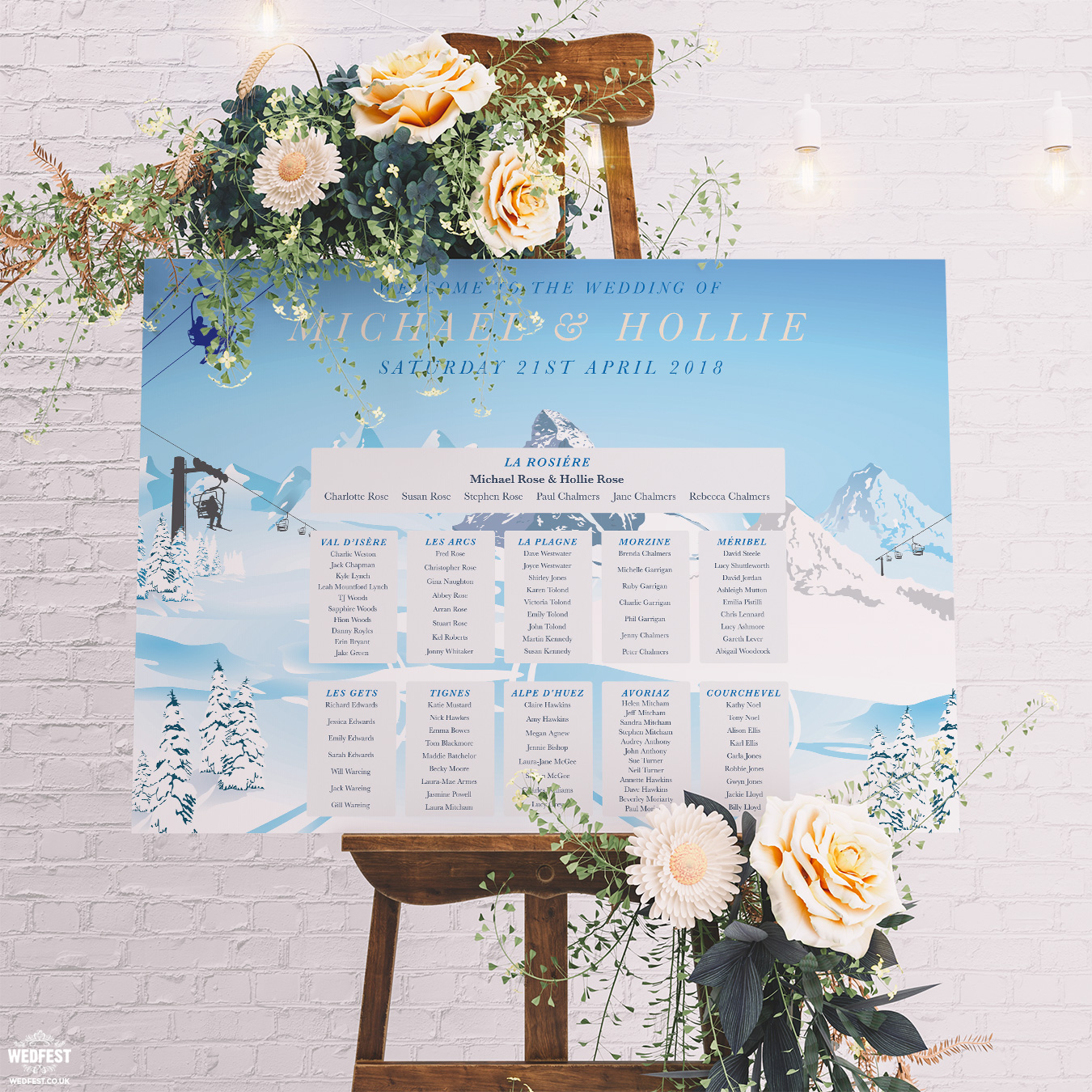 ski lift skiing wedding seating table plan chart