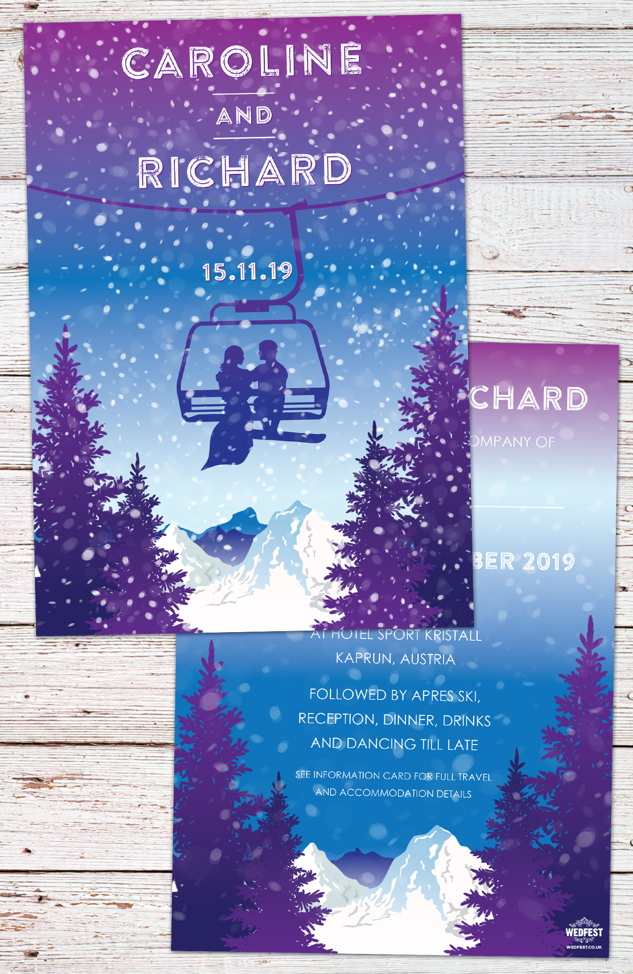 ski lift theme wedding invitations