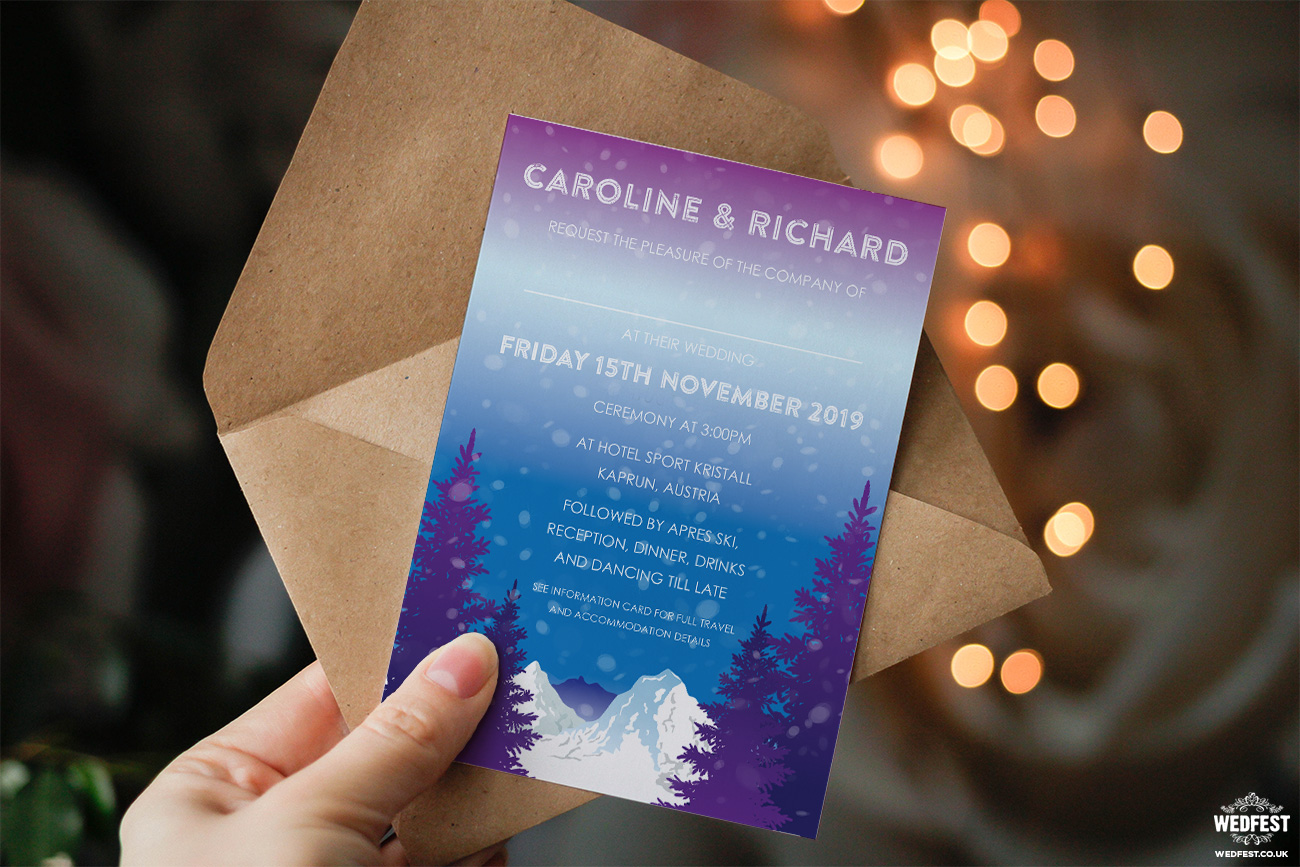 ski resort wedding invitations