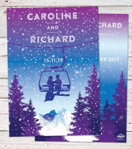 skiing ski lift themed wedding invitations