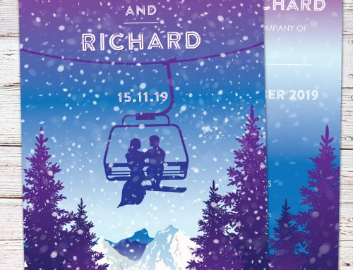 Skiing Ski Lift Theme Wedding Invitations