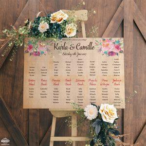 vintage floral wedding seating table plan