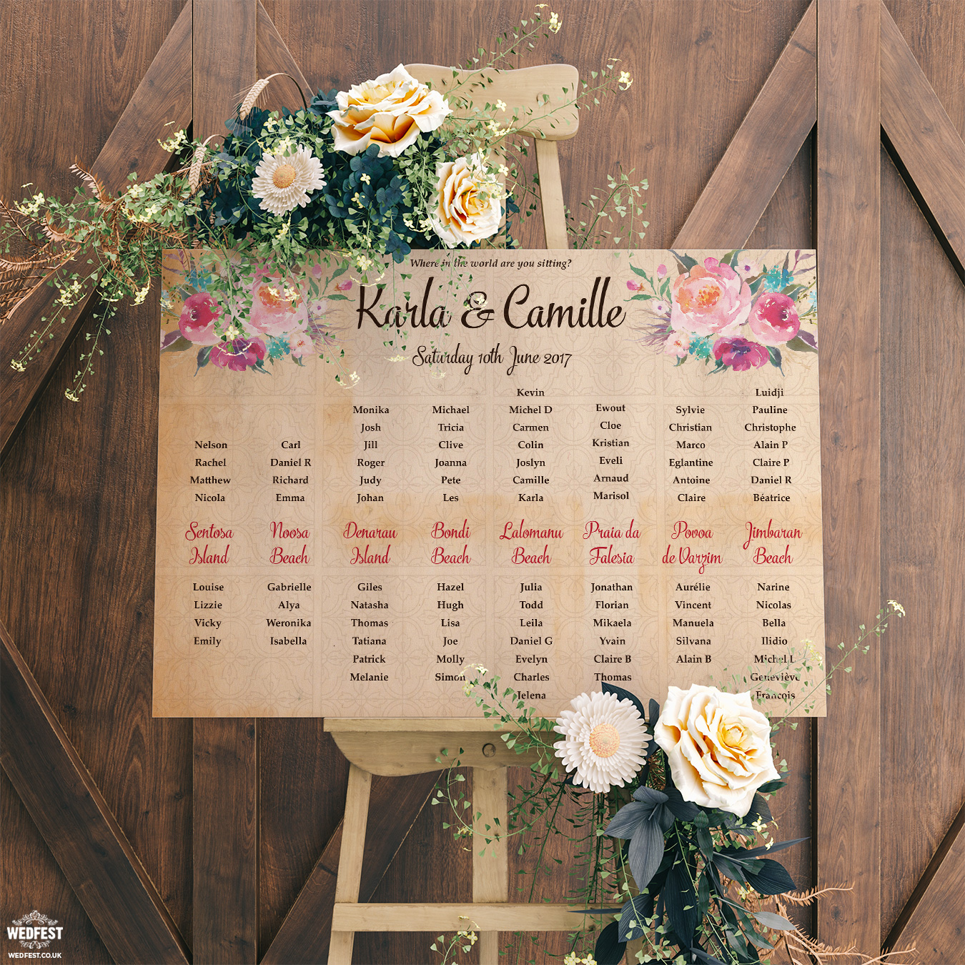 vintage floral wedding seating table plan