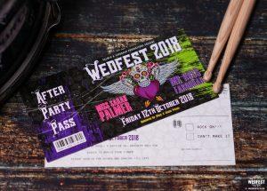 wedfest rock n roll theme wedding invite