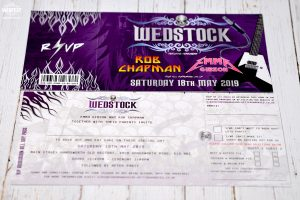 wedstock rock and roll wedding guitars tickets invitations