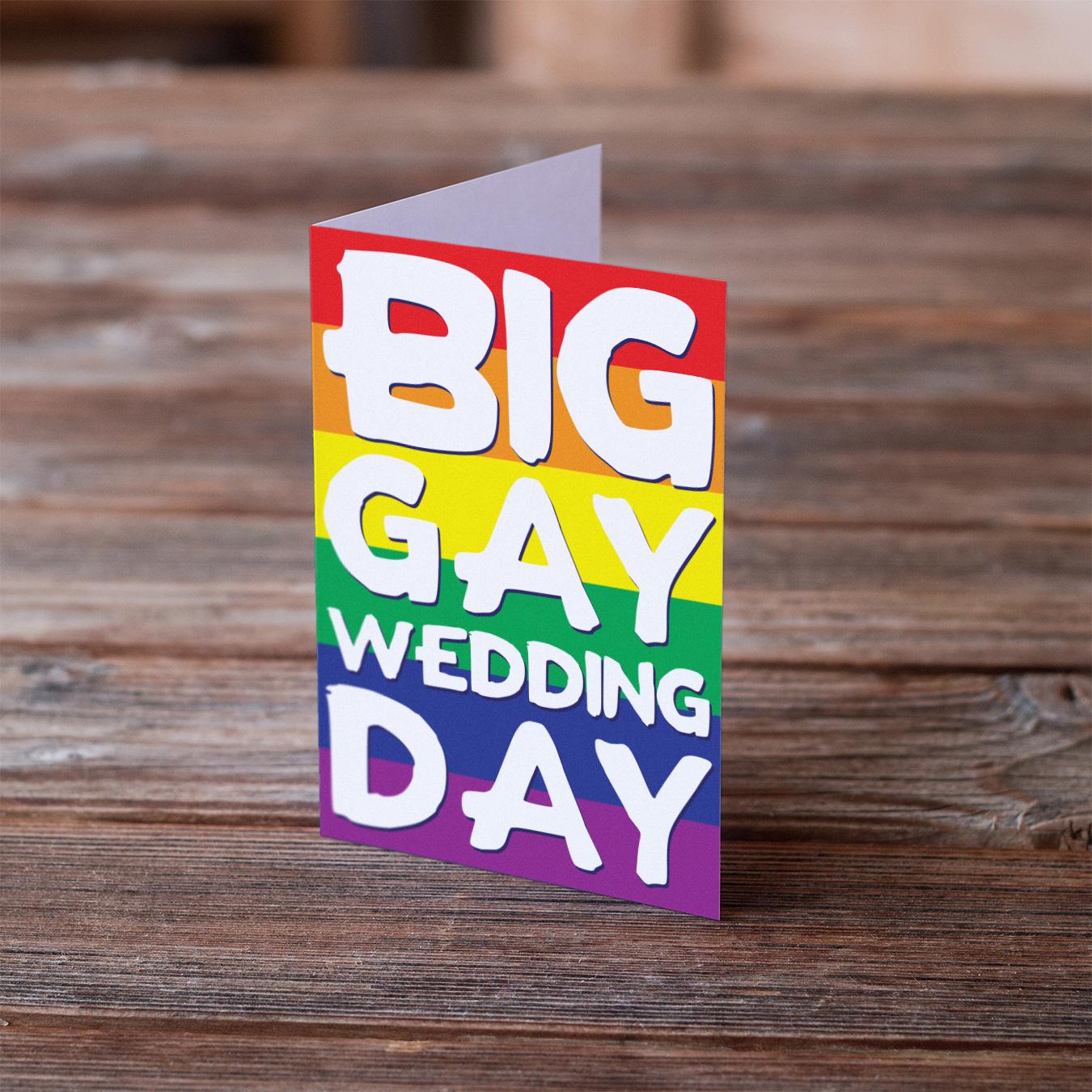 big gay wedding day cards LGBT wedding rainbow same sex marriage lesbian gay card
