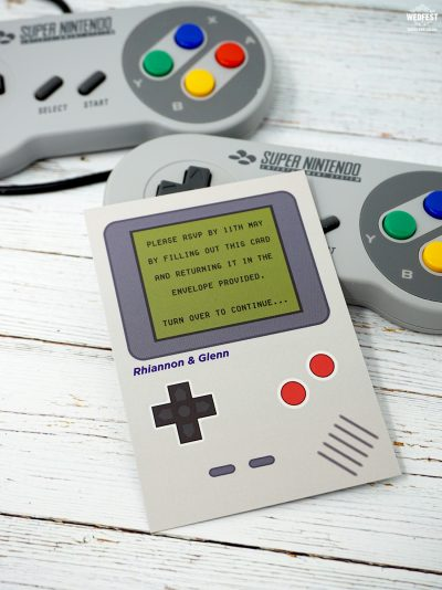 gameboy geek gamers retro classic video games wedding invitation