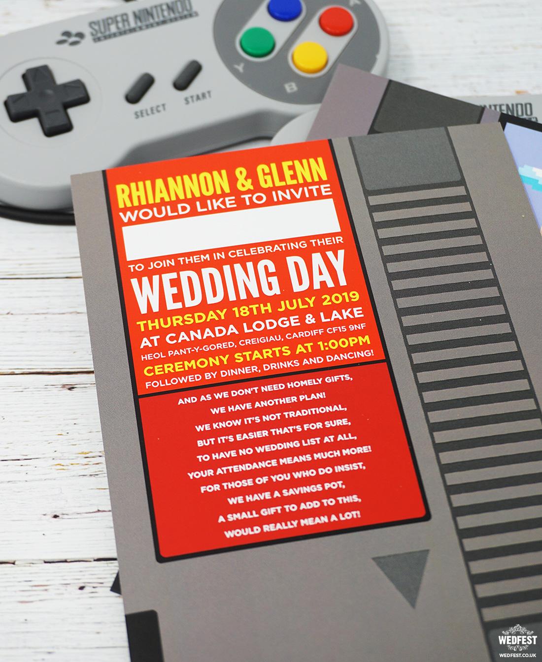 geek gamers retro classic video games wedding invitation