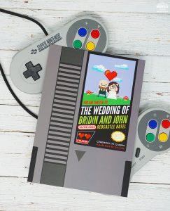 nintendo classic video game wedding invitation