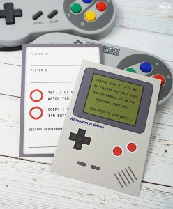 nintendo gameboy wedding invitation