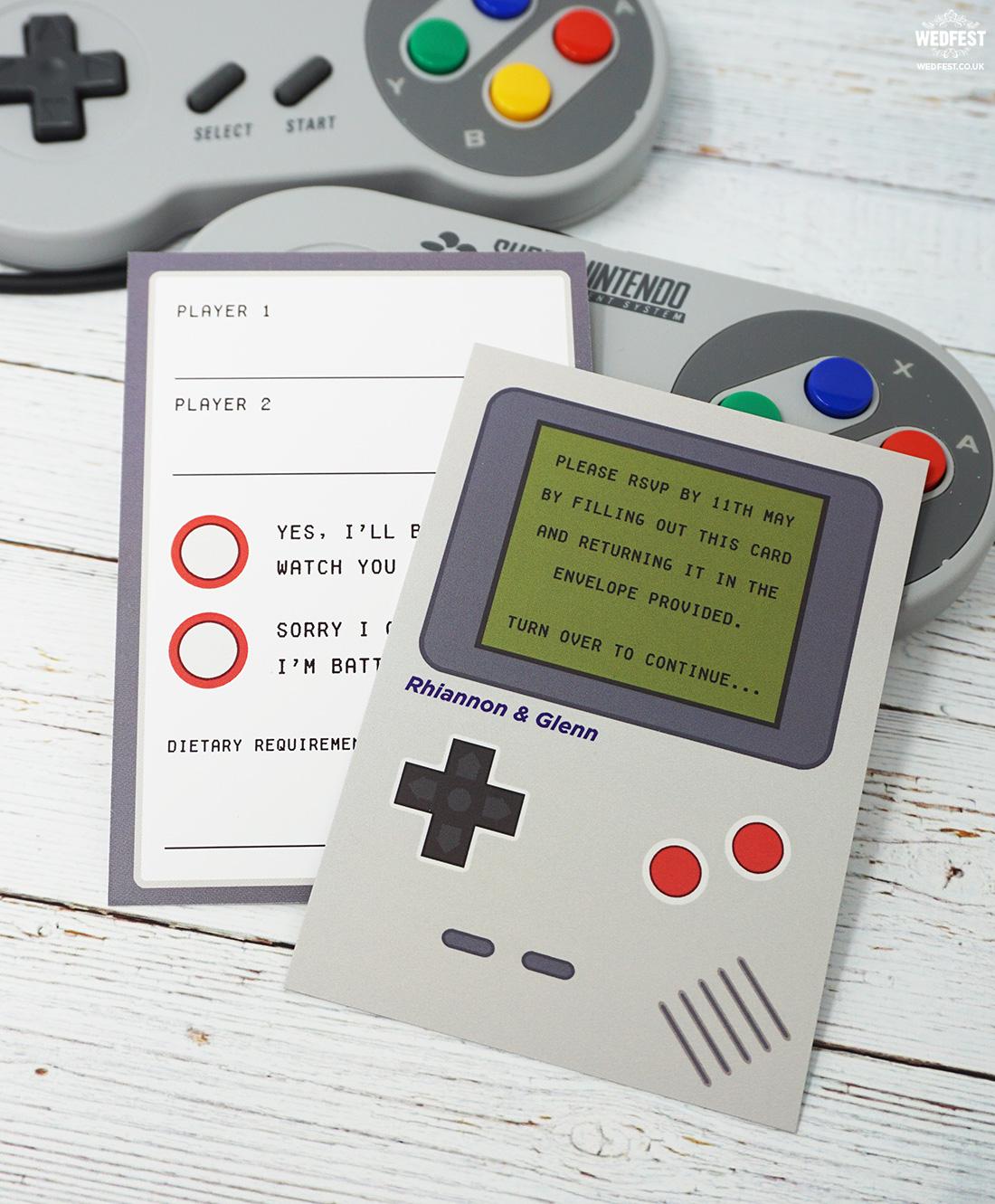 nintendo gameboy wedding invitation