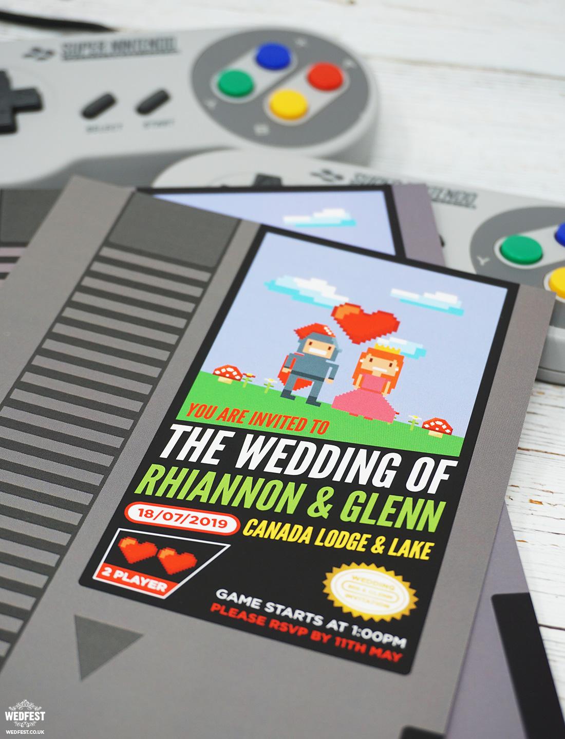 nintendo retro classic video game wedding invite