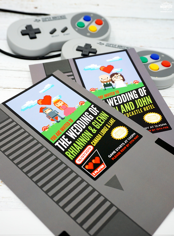 nintendo retro classic video games wedding invitation