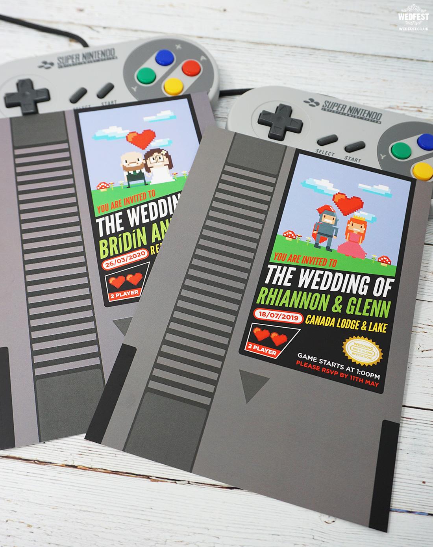 nintendo retro gamer classic video game wedding invite