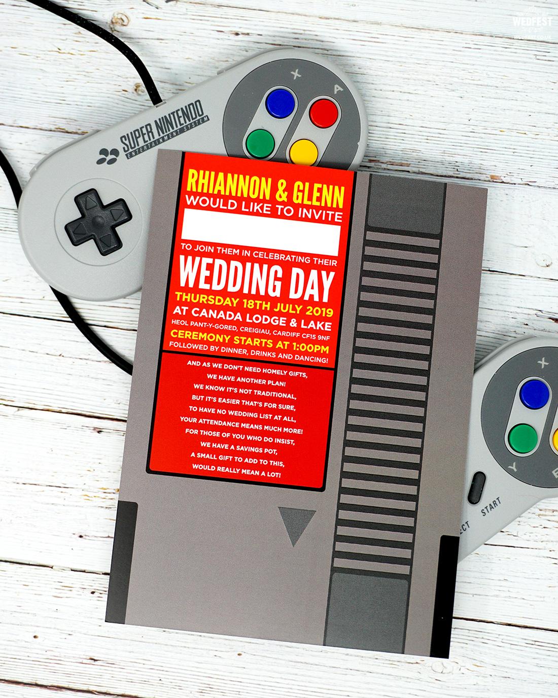 nintendo video game cartridge wedding invitation