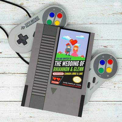 nintendo video games wedding invitations