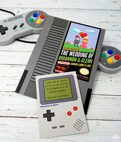 nintento gameboy gamer retro classic video games wedding invitations