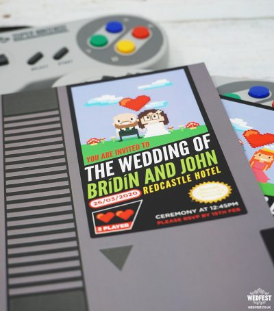 retro gamer classic video game wedding invite