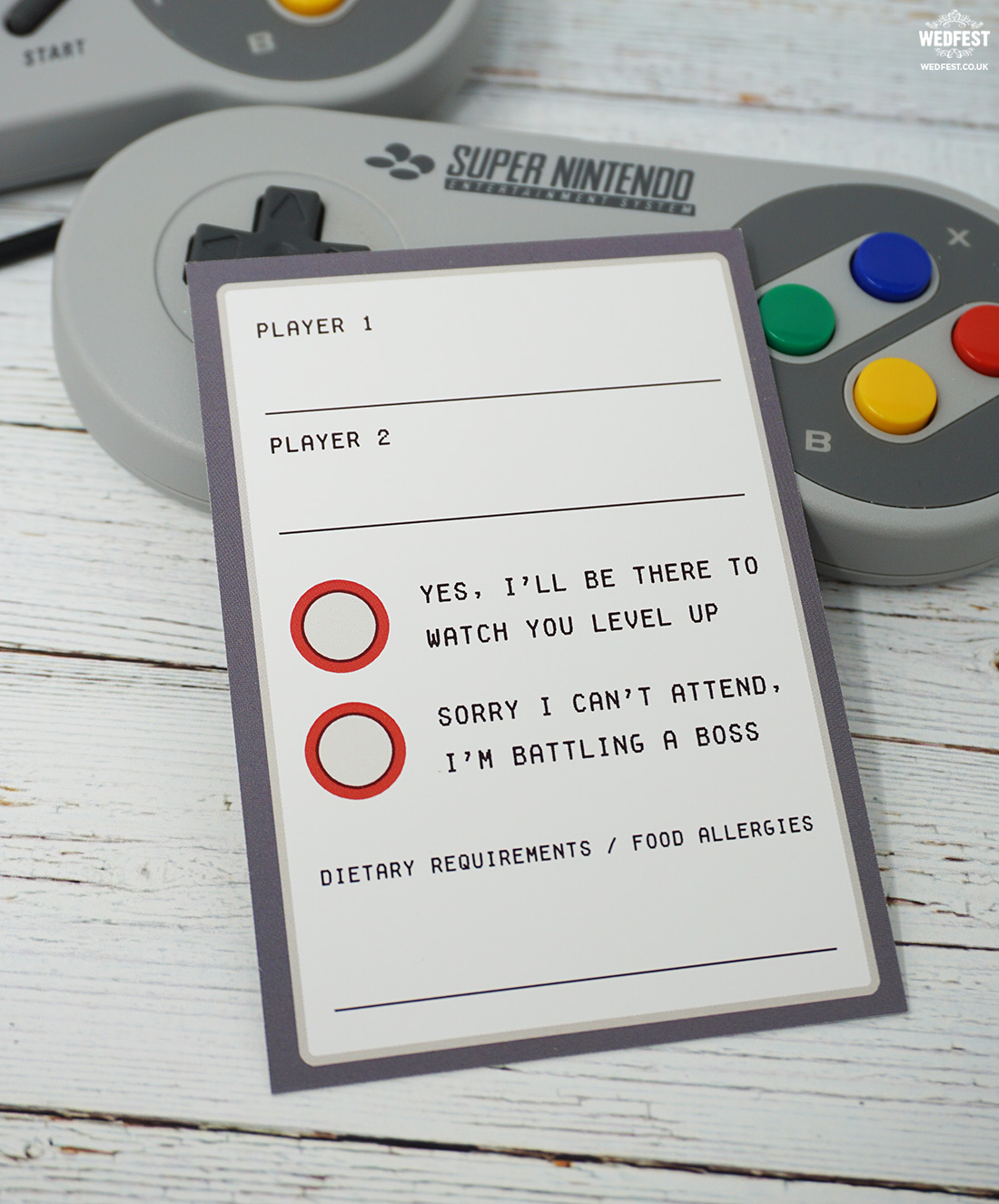 video games wedding stationery