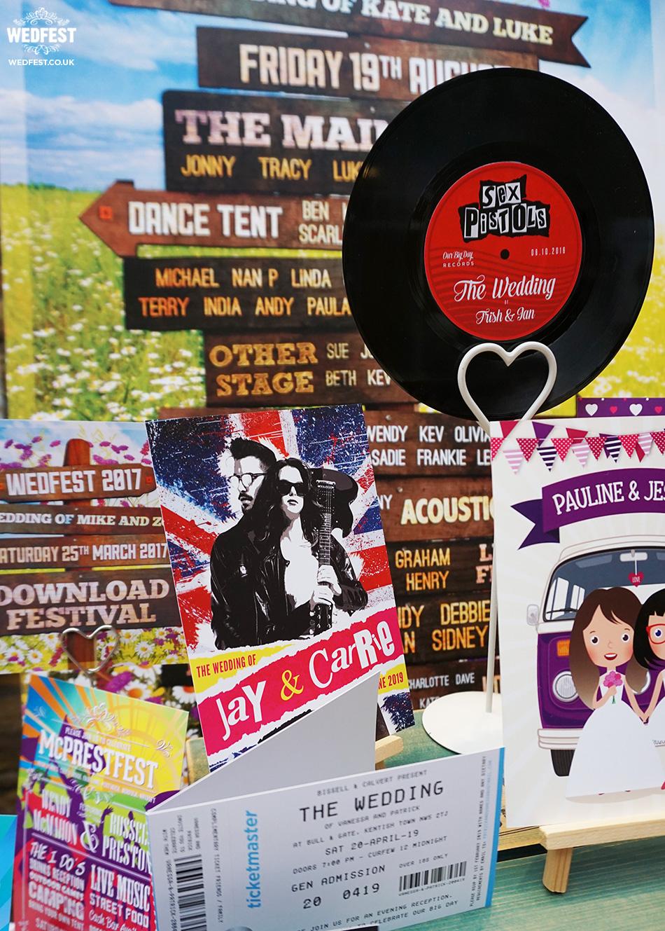rock n roll bride wedding stationery