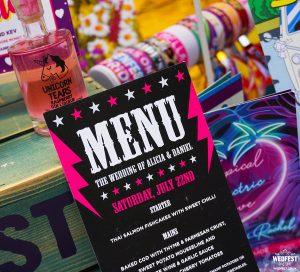 rock n roll wedding stationery menu