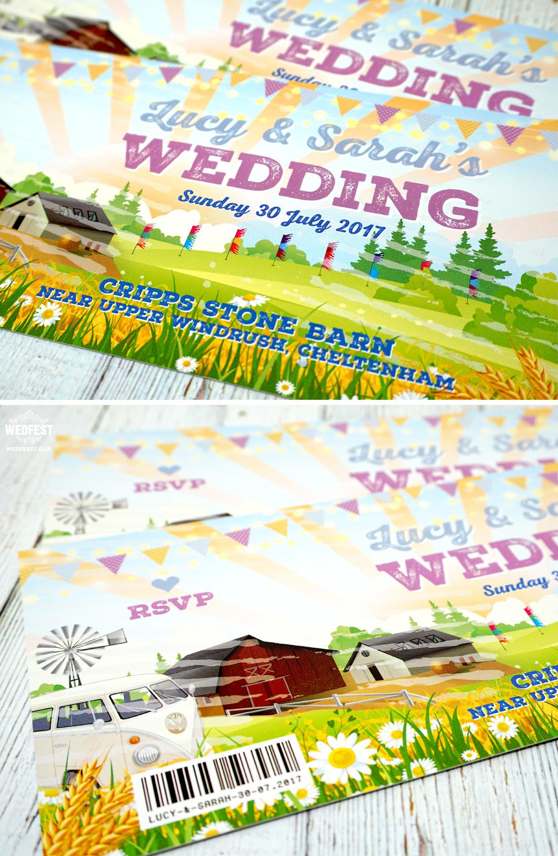 same sex marriage festival wedding invites farm barn wedding