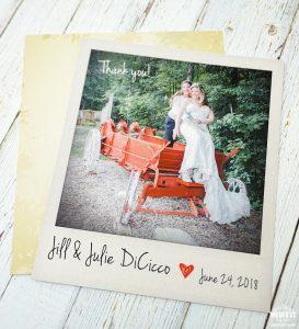 same sex marriage polaroid photo wedding thank you cards
