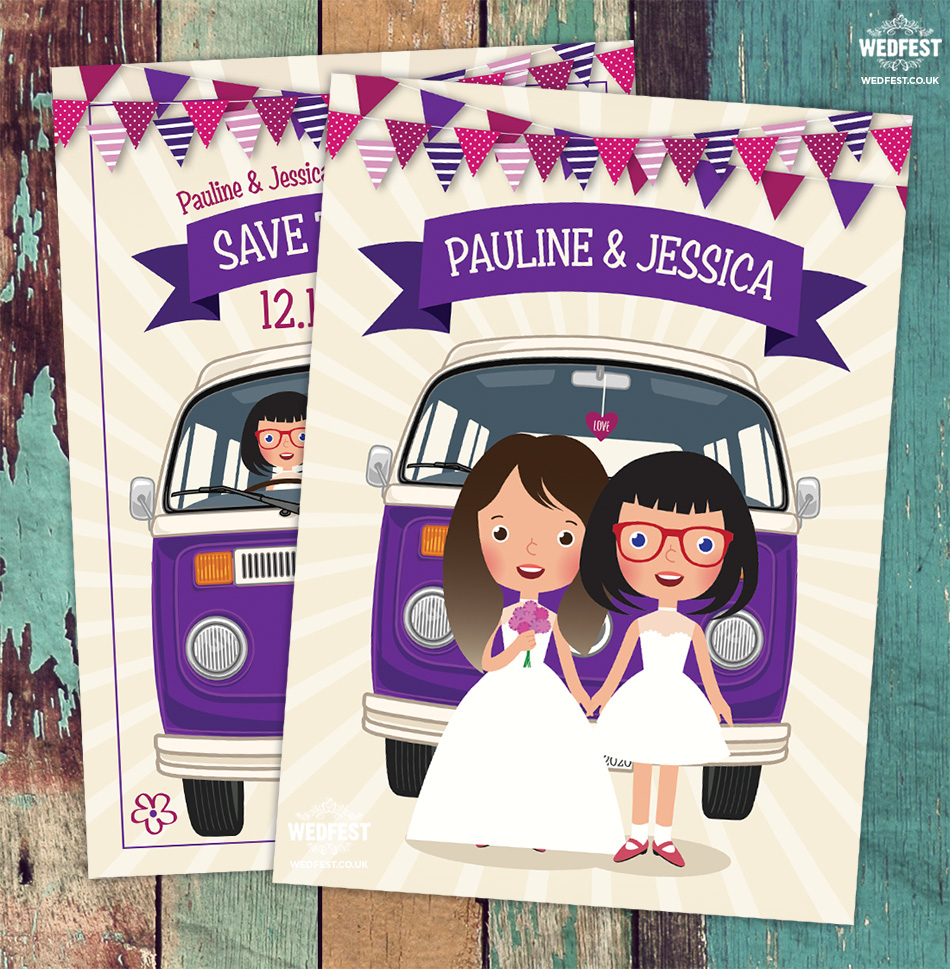 same sex vw camper van wedding save the date