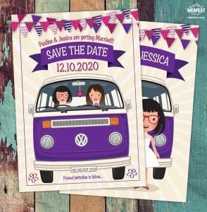 same sex marriage vw campervan wedding invitation save the date