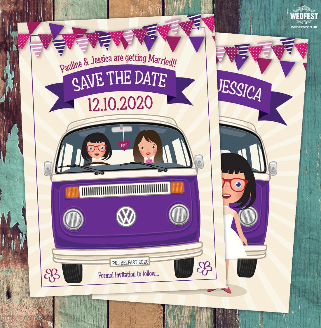 same sex marriage vw campervan wedding invitation save the date